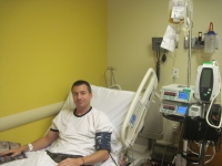 Jason receiving donor platelets.